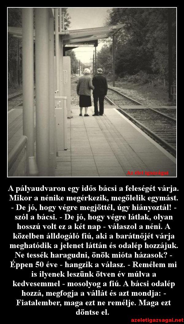 A pályaudvaron egy idős bácsi a feleségét várja